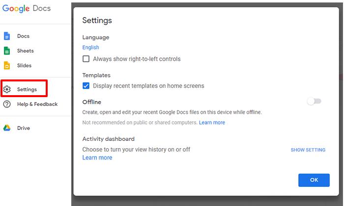 settings popup menu in google docs