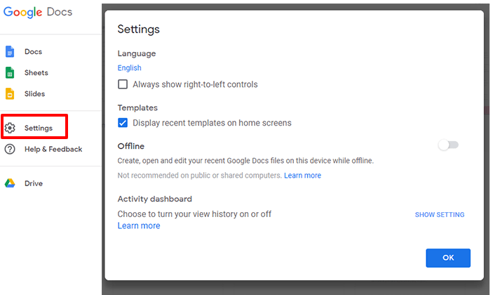 settings popup menu in google docs