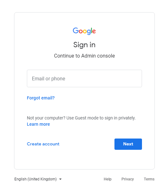 google account credentials page