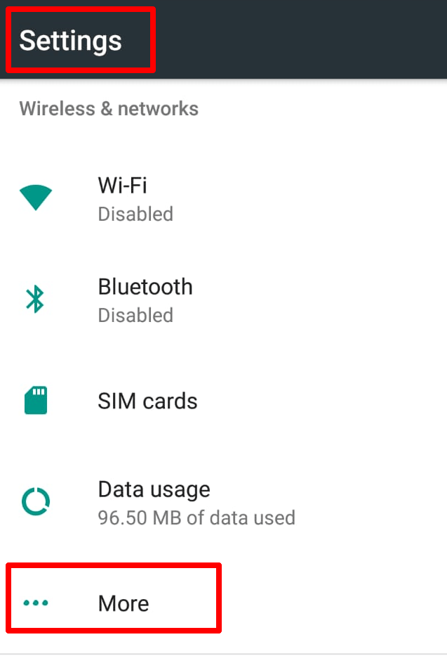 from settings menu click on more option