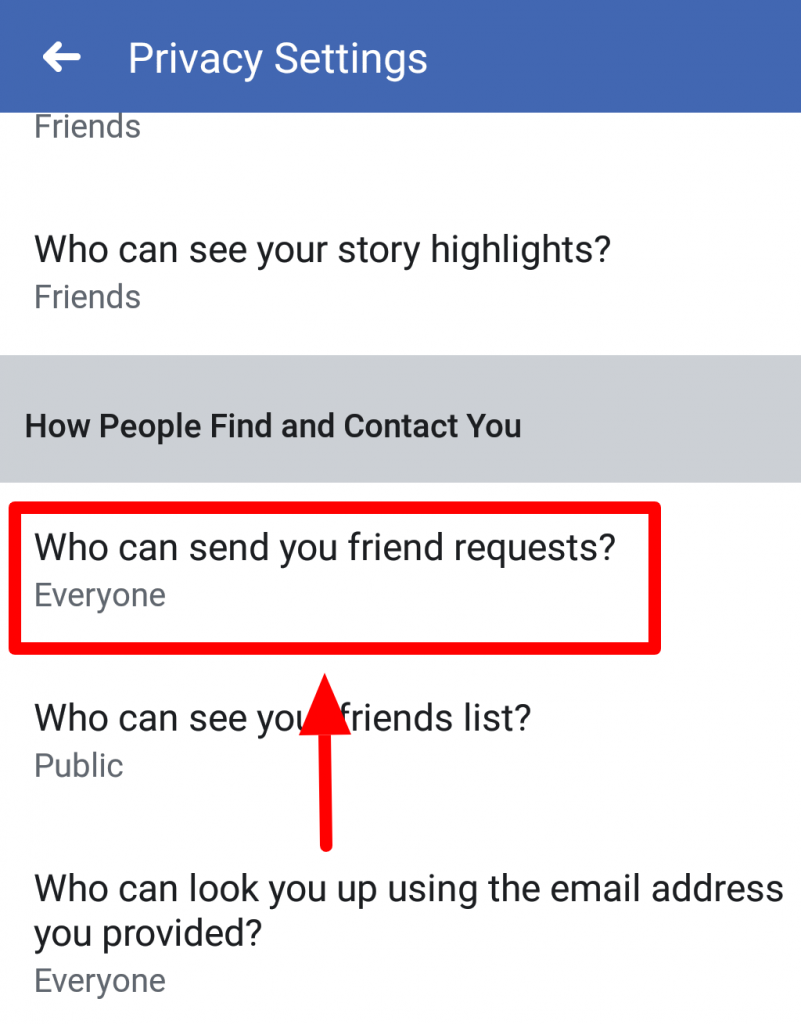 facebook who can send friend request privacy option