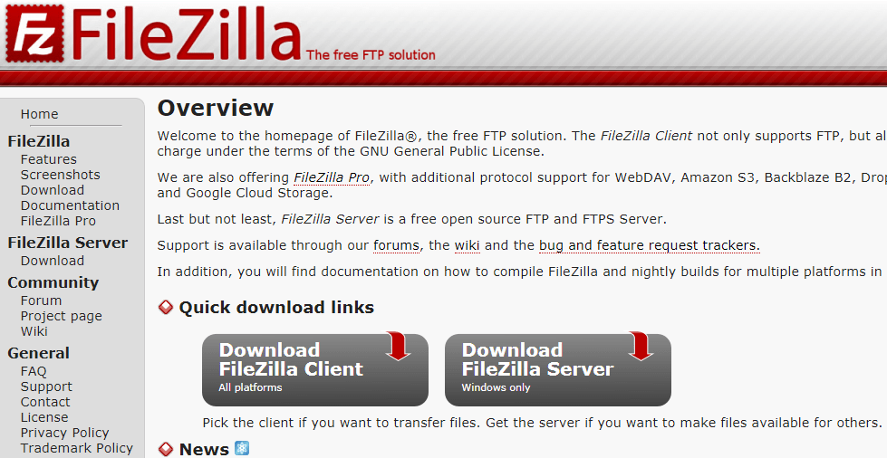 filezilla official page for download software