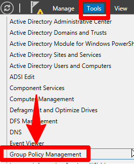 group policy management tools in server