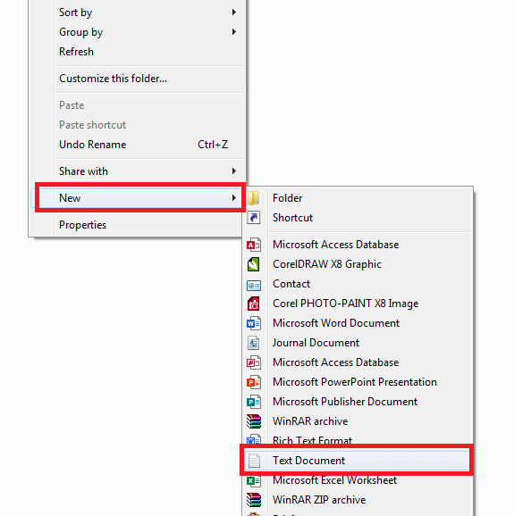 create new text document in windows