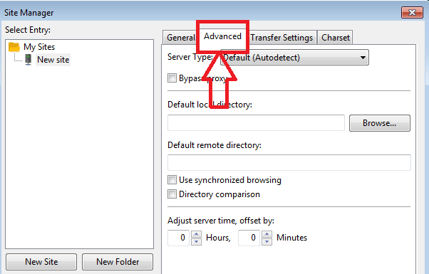 advanced tab in site manager