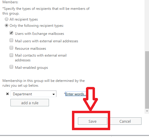 save button in dynamic distribution list for office 365