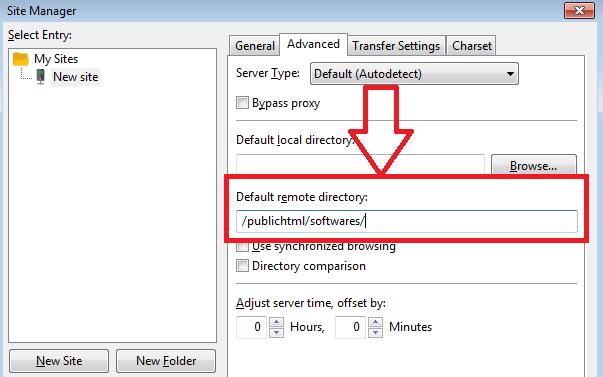 specify default remote directory filezilla