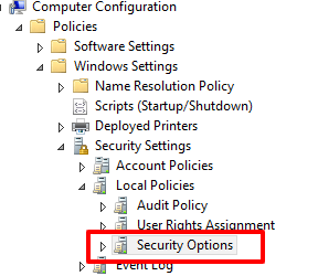 In computer configurationd select the security options