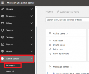 exchange option in admin centers office 365