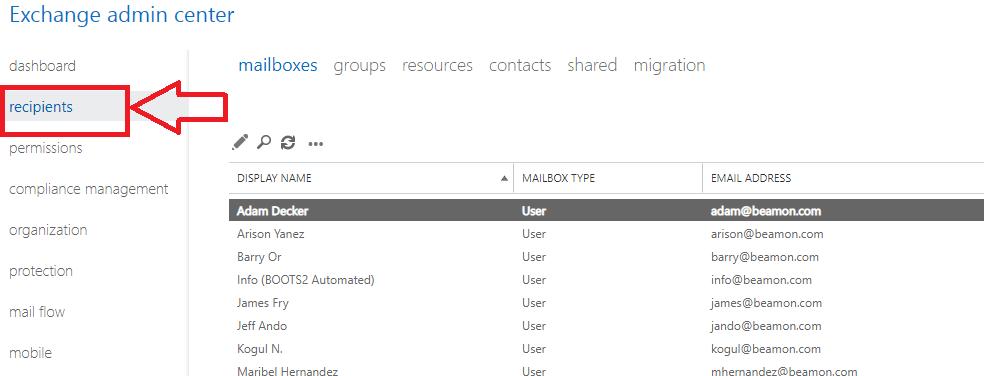 recipients option for admin center