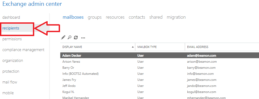 recipients option for admin center