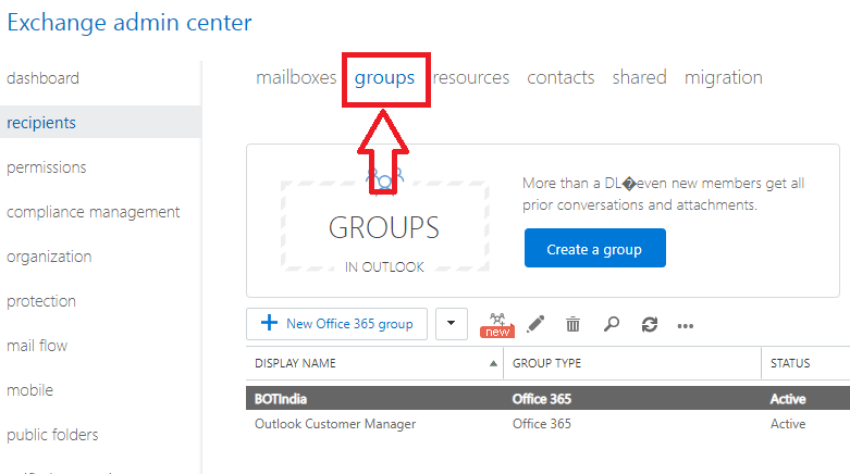 select groups option in exchange admin center