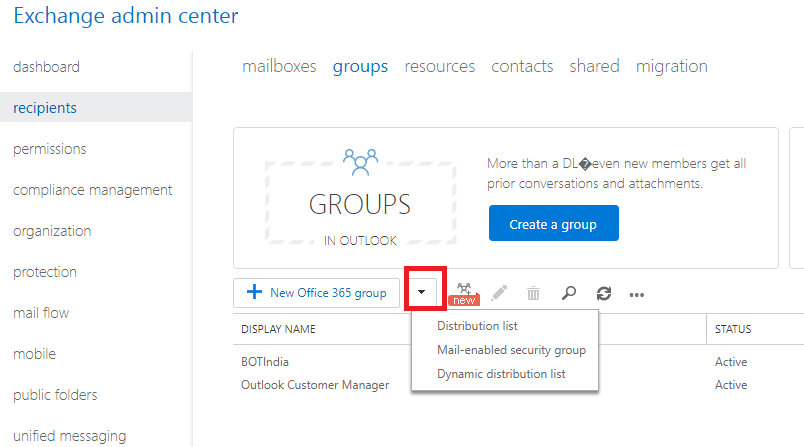 dropdown icons in groups