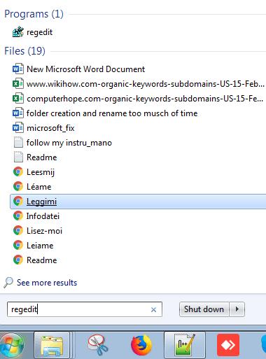 regedit for windows start menu