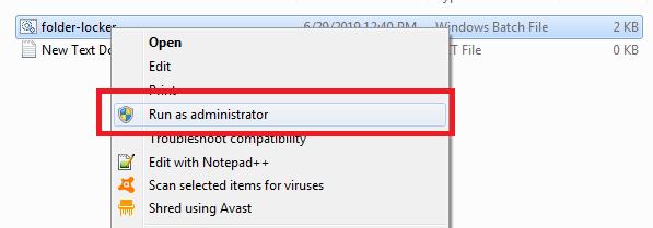 run folder lock bat file