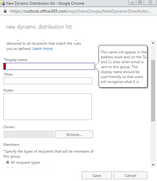display name alias notes and other fields