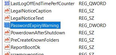 Password expiry warning in regedit