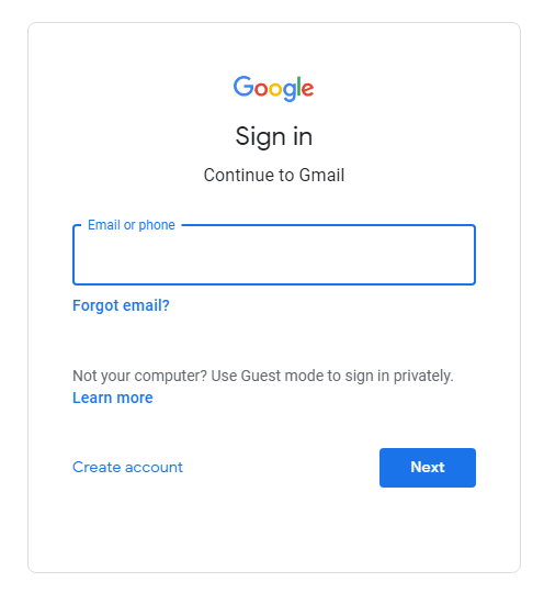gmail login and signup page