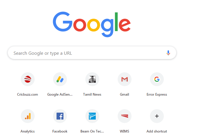chrome browser home page
