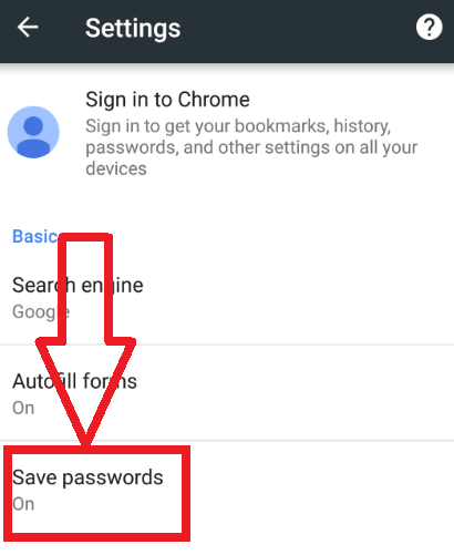 sace passwords option in android chrome