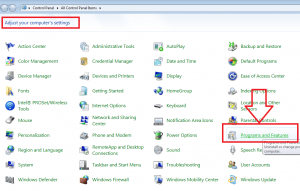 programs and features in control panel