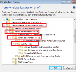 expand options to select AD DS Tools