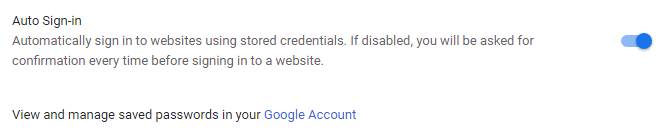 auto sign-in option in chrome web browser