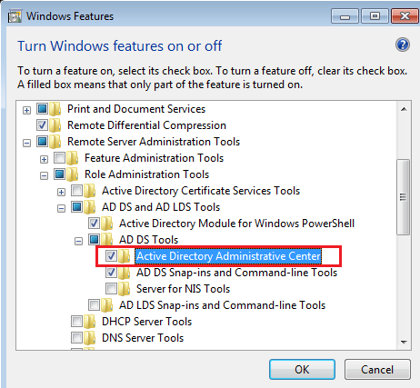 active directory administrative center option