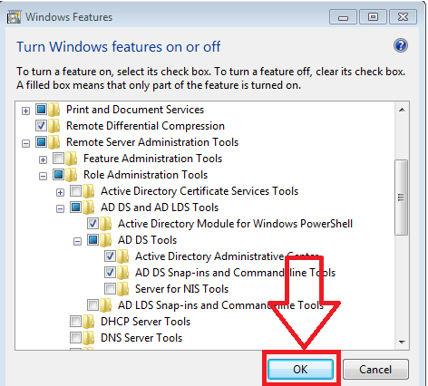 save changes for windows feature