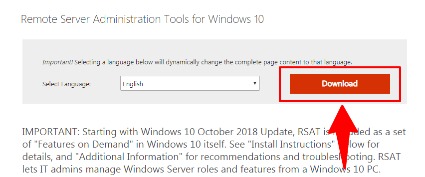 download button for remote server administration tools windows 10 and 8