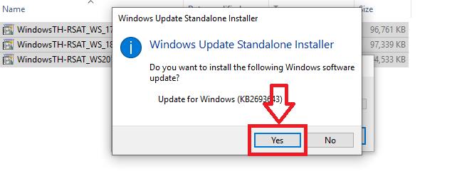 windows update standalone installer confirmation popup in windows 10