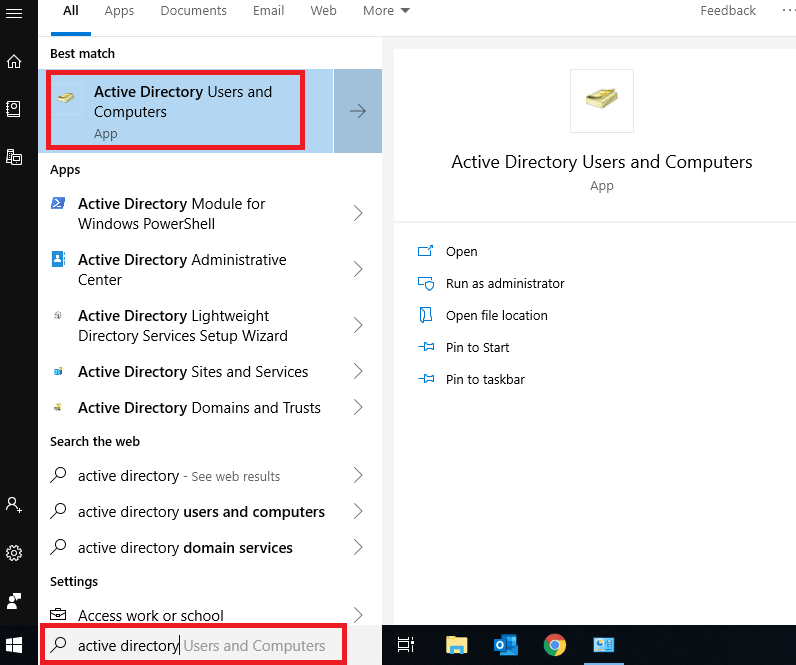 active directory users and computers tools for start menu windows 10/8
