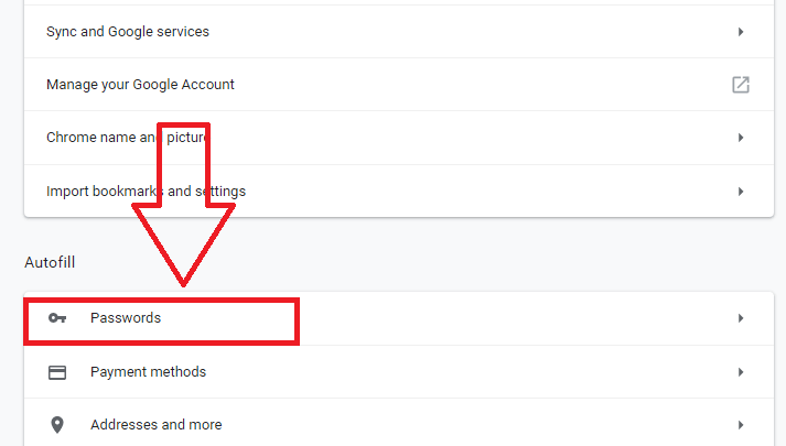 passwords chrome settings page