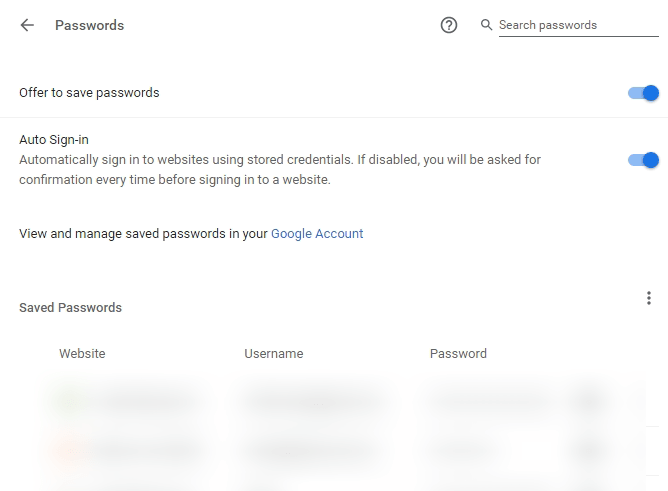 saved passwords section