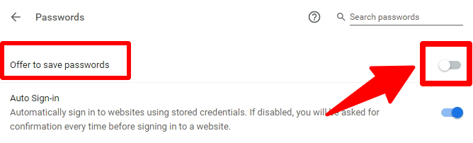 trun off offer to save passwords in chrome