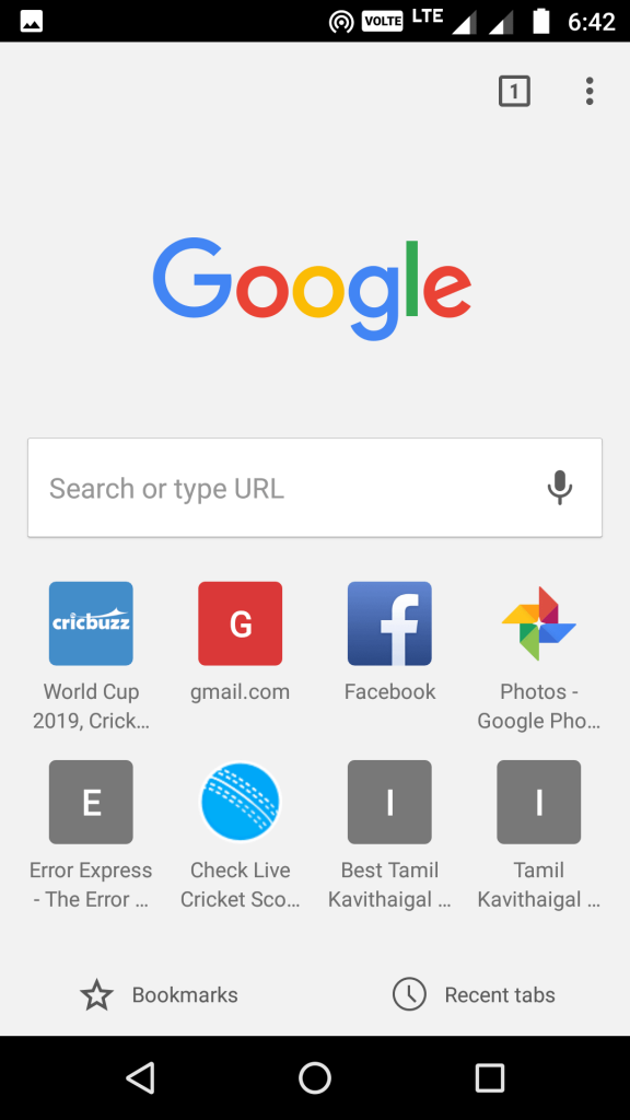 google chrome application homepage android
