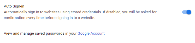 auto sign in feature in chrome