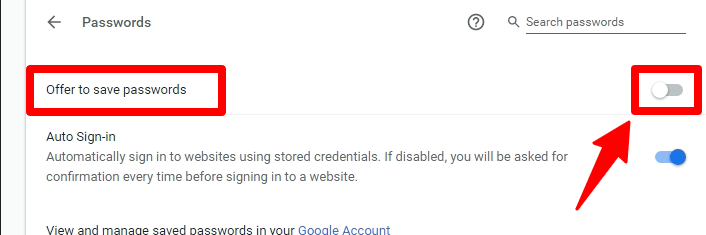 turn off password notification prompt in chrome