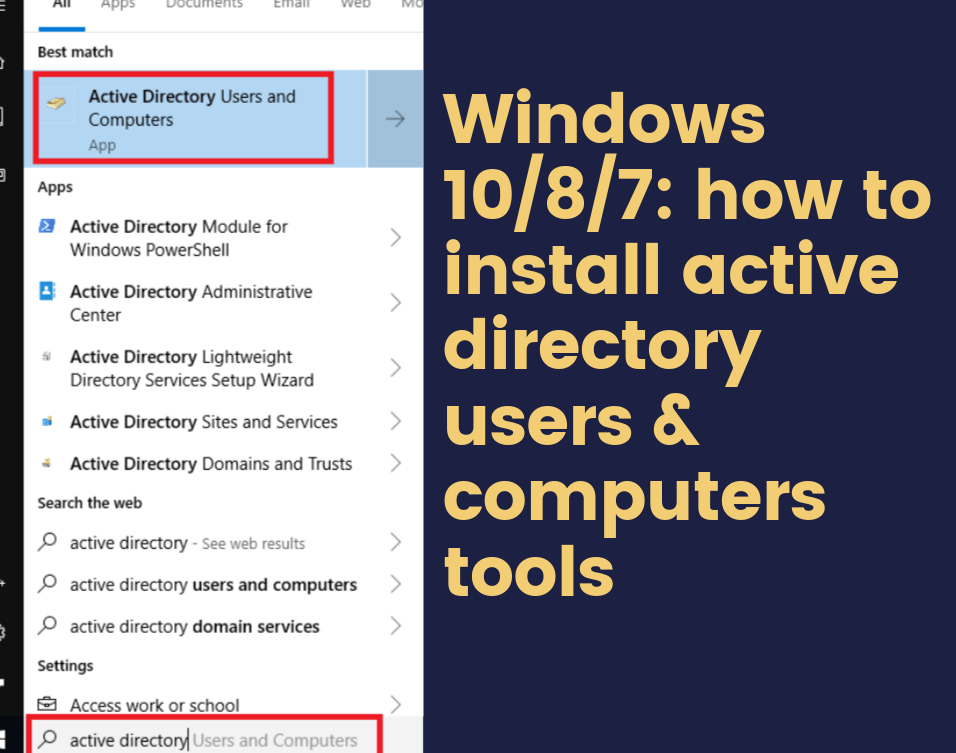 Windows 10/8/7 how to install active directory users and computers tools