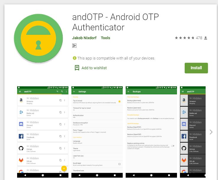 andOTP opensource and two factor authentication tool