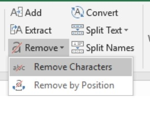 remove character option in excel