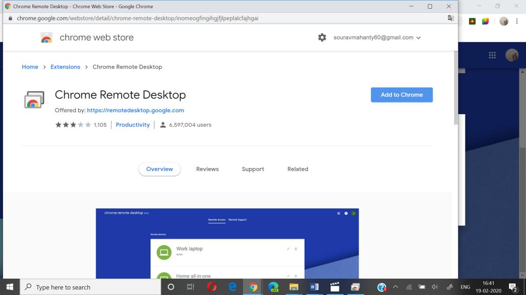 add chrome remote desktop extension