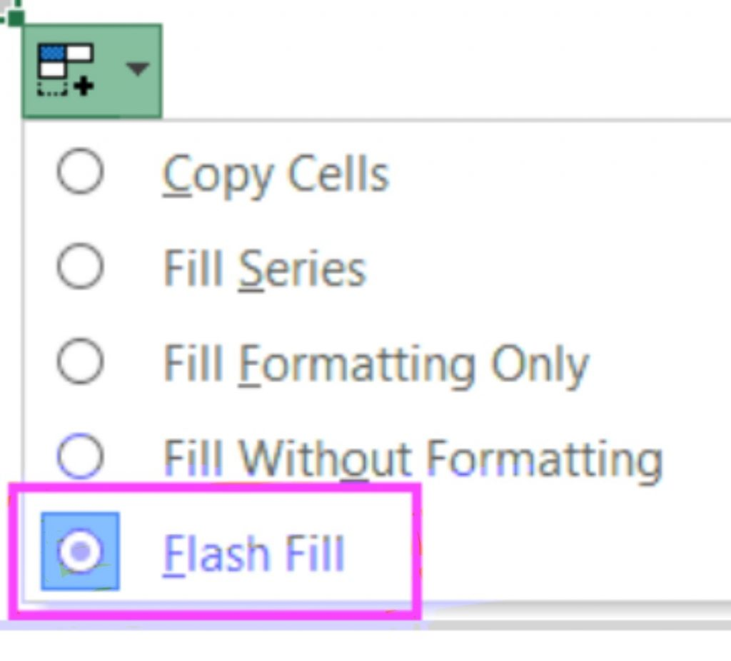 flash fill option in excel sheet