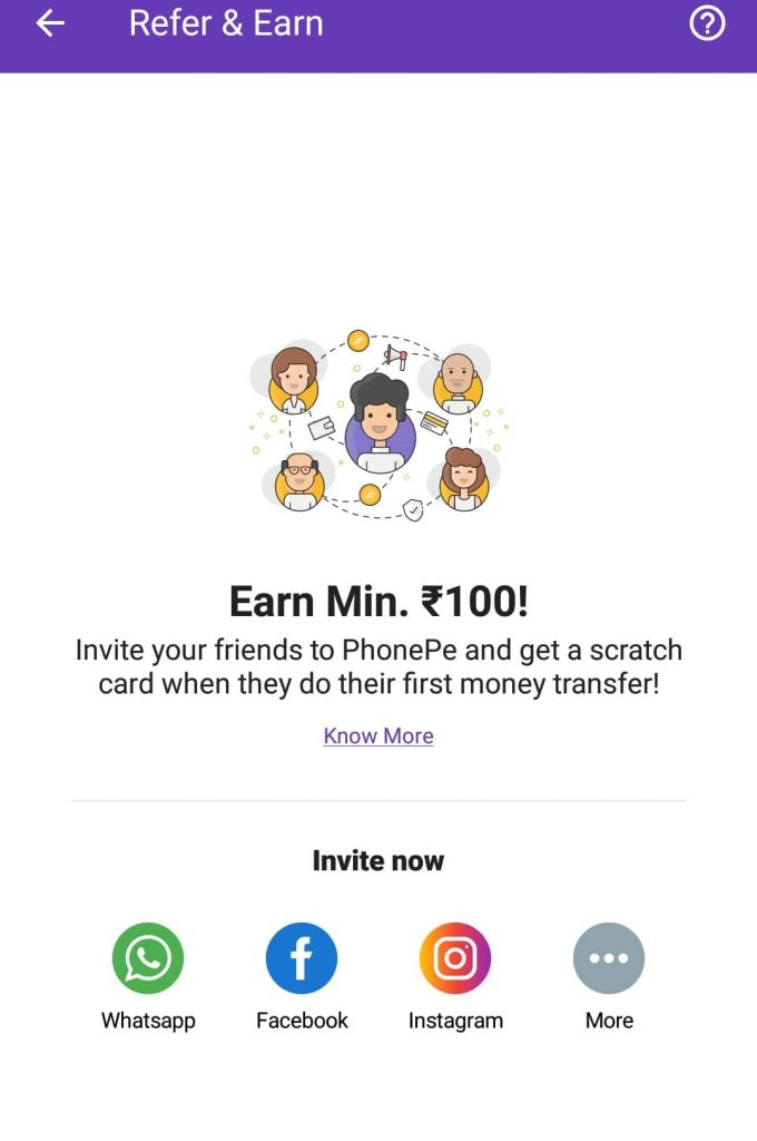 phone pe refer and earn mobile app page