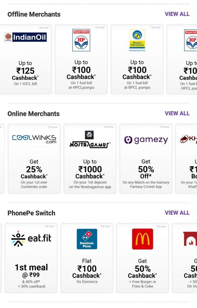 PhonePe Switch merchants