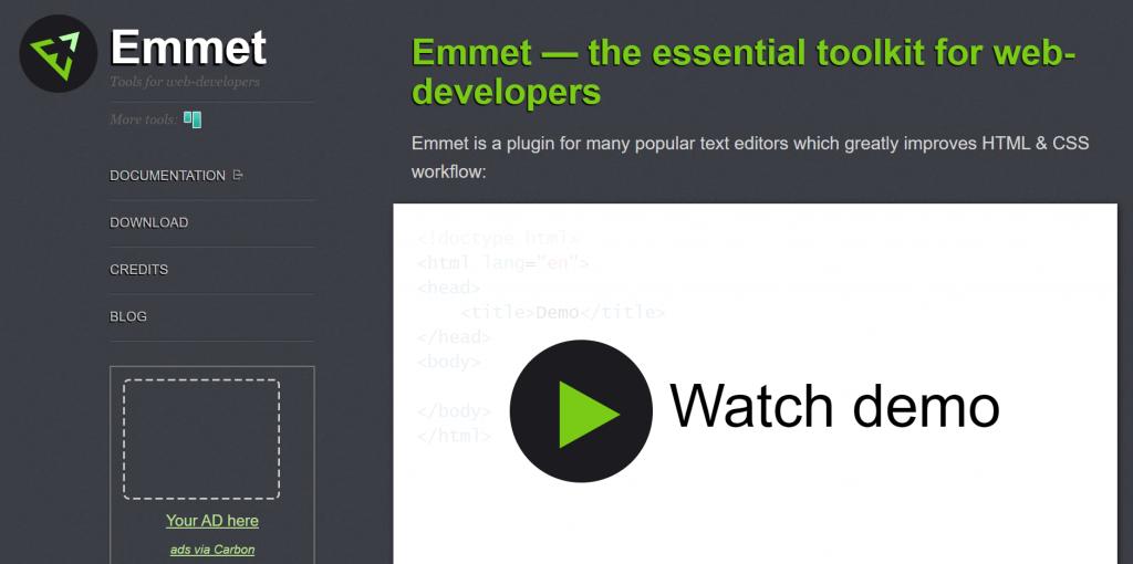 Emmet - tools for web developers