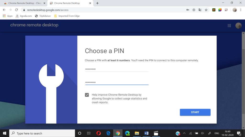 chrome remote desktop create pin page