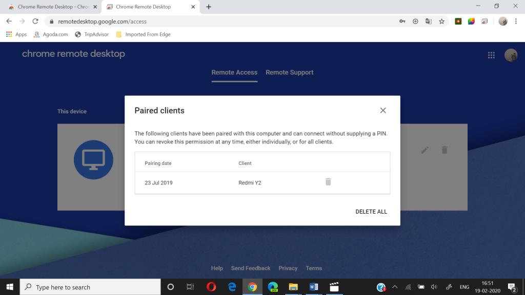remote desktop paired clients information