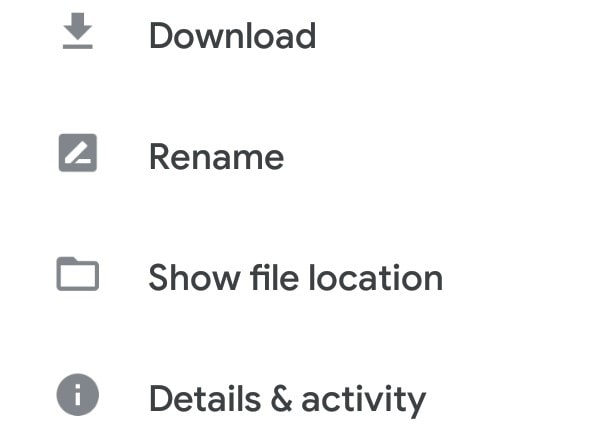 show file location in google drive