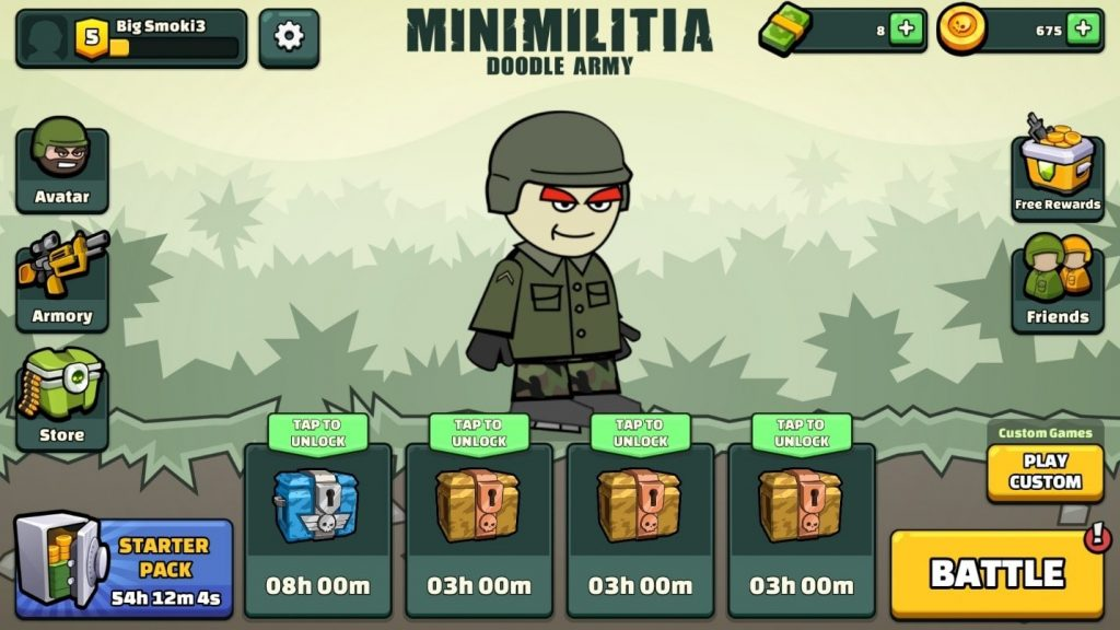 Ui of the game-minimilitia doodle army